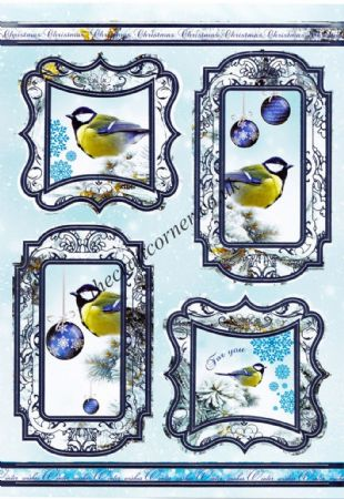 Die Cut Foil Christmas Blue Tit Toppers and Backing Card from Craft UK Ltd